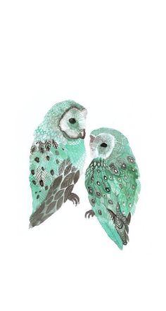 緑フクロウiPhone壁紙 Wallpa