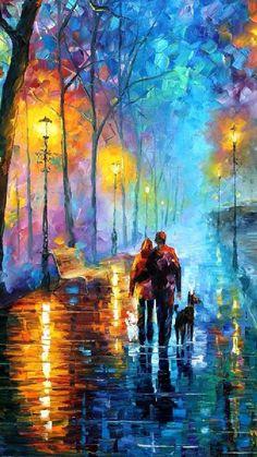 夜の散歩道iPhone壁紙 Wallpa