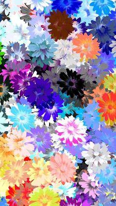 サイケデリックな花柄iPhone壁紙 W