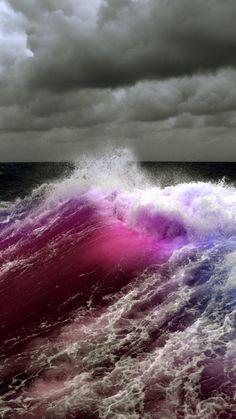 波とピンクオーロラiPhone壁紙 Wa