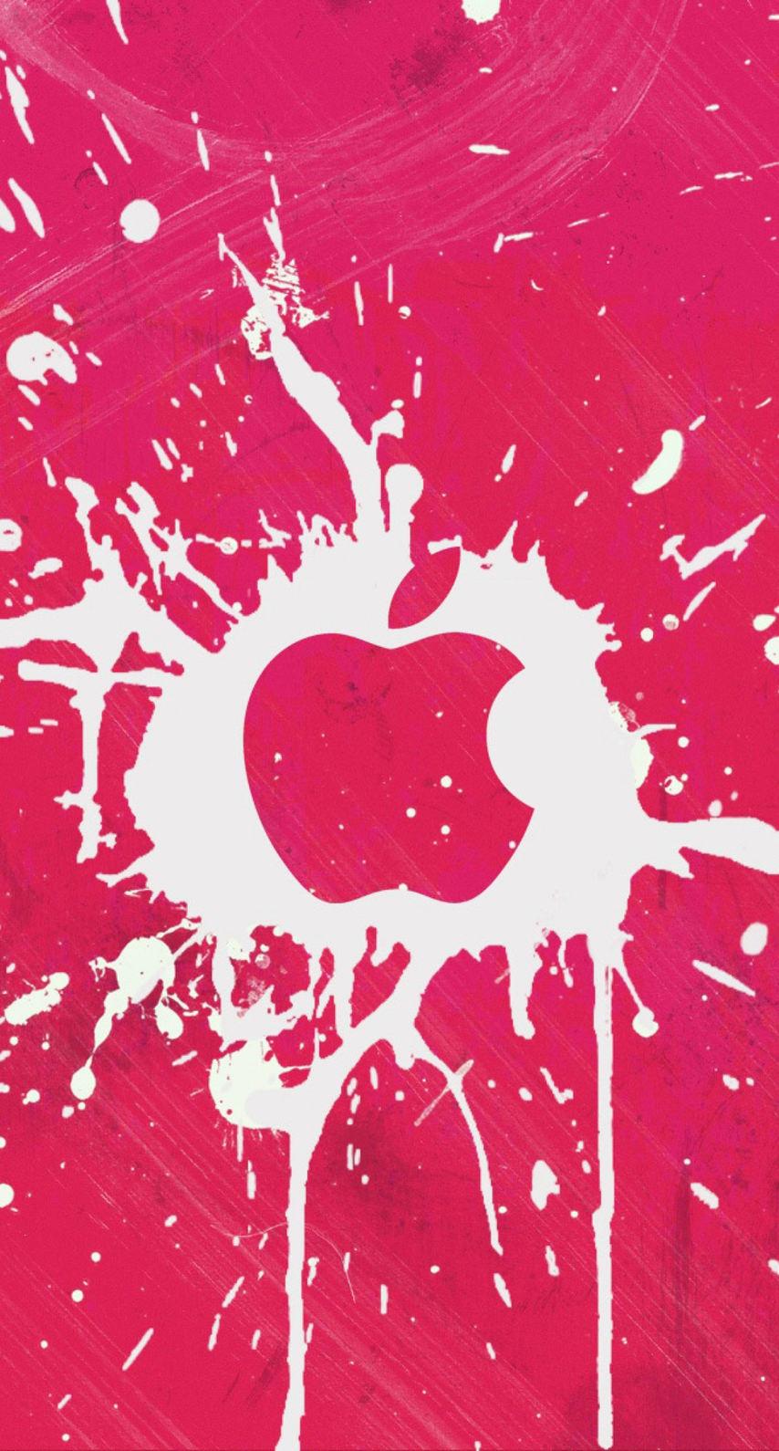 アップルロゴのピンクペンキ