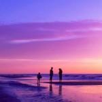 ロマンティックな夕焼けとビーチ