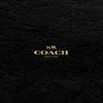 コーチ/キラキラゴールドロゴ&ブラックレザー
