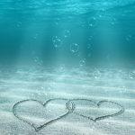 かわいいハート in 海底
