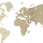 キラキラゴールド世界地図